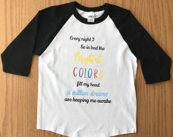 The Greatest Showman; A Million Dreams Kids Shirt; Children's Baseball Shirt; Dream Big; Rainbow; A Million Dreams; Film