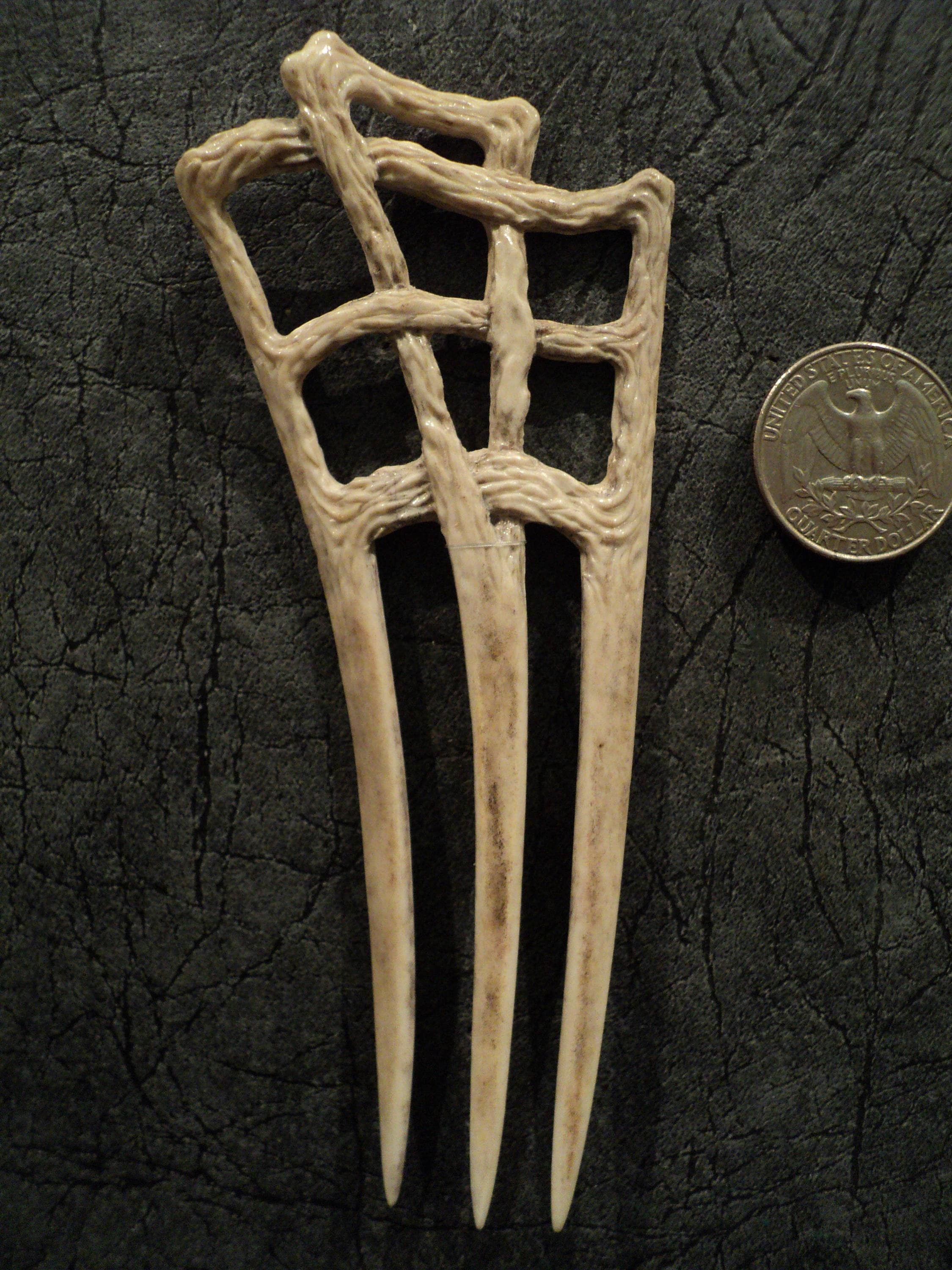 Carved bone hair comb accessory pin deer