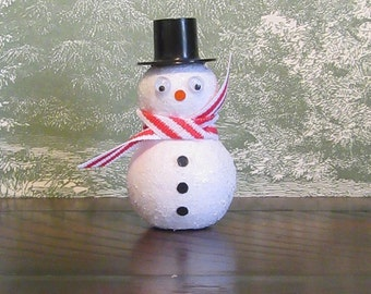 Handmade Snowman Spun Cotton with Scarf and Top Hat,  Christmas Snowman Decoration, Vintage Style Christmas Decor