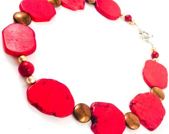 Red and Bold  Turquoise Chunky Necklace