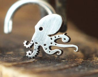 Silver Walking Octopus Nose Stud | Octopus Nose Ring | Handmade Nose Stud | Unique Nose Stud | Nature Nose Stud | Custom Nose Ring