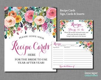Bridal Shower Recipe Cards Printable, Floral Bridal Shower Recipe Cards, Sign, Invitation Inserts, Recipe Cards