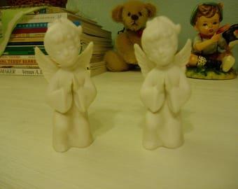 Two Tiny Kneeling Angels, Napcoware Japan, Vintage Nursery Decor