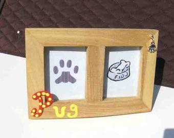 Final Markdown Sale...PUG Dog Breed Wood Desktop Double Photo Frame w/Pawprint Charm