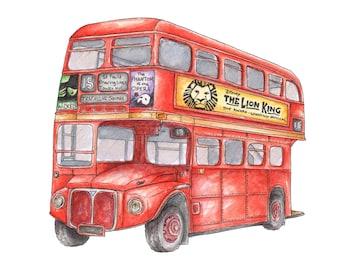 Illustrated London Vintage Bus Art Print