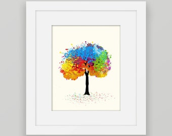 Colorful Wall Art, Colorful Tree Art, Tree Printable Wall Decor, Red Blue Watercolor Tree Print, Printable Tree 8x10 Instant Download Art