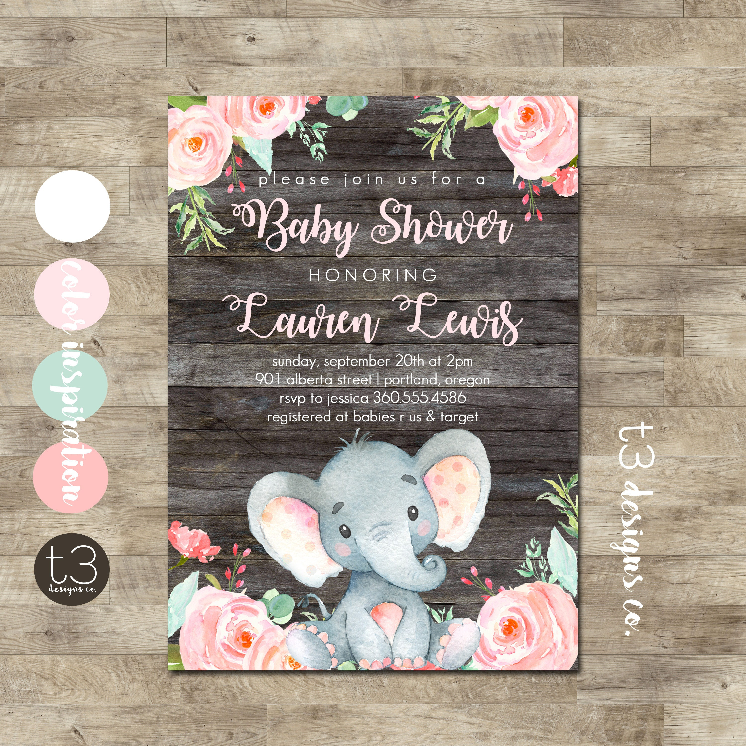 Girl Elephant Baby Shower Invitation Safari baby shower invitation