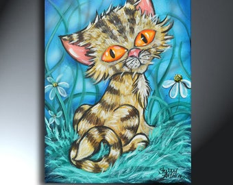 Big Eye Cat Painting 12 x 16