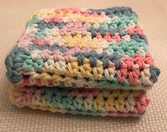 Cotton Pretty Pastels Dishcloth/Washcloth set of 2