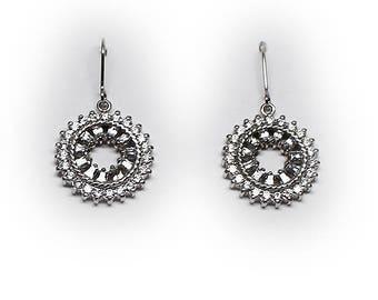 Sterling Silver Double CZ Halo Dangle Drop Earrings