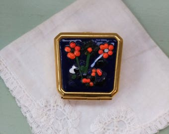 Gold enameled flowers blue, green and orange vintage pill box