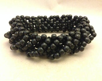 Vintage Woven Black Bead Bracelet