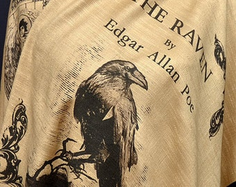 The Raven by Edgar Allan Poe  Shawl Scarf Wrap