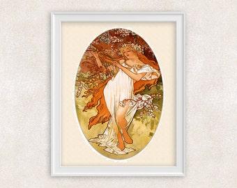 Vintage Art Nouveau Print - Spring by Alfons Mucha - Victorian Art - 8x10 - Item #517