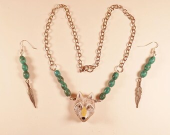 Wolf Necklace, Spirit of the Wolf, Necklace and Earring Set, Natural Turquoise Beads, Ceramic Wolf Head, Handmade OOAK, Pewter Feathers