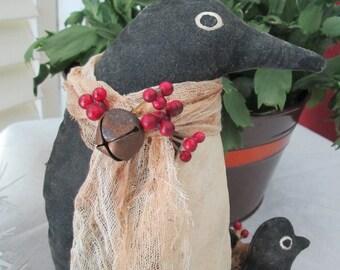 SALE:Primitive Penguin - Christmas Penguin - Primitive Baby Penguin - Penguin Christmas Decoration - Primitive Candy Cane - Holiday Decor