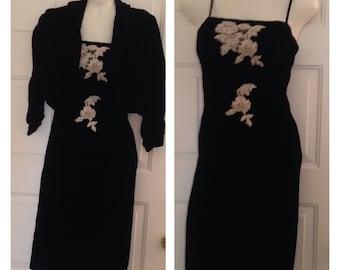 Gorgeous Black Velvet Spaghetti Strap Dress with Matching Jacket