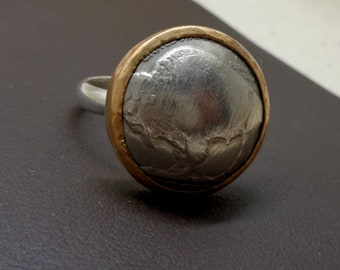 Sterling Silver and Gold Fill Domed Buffalo Nickel Coin Ring OOAK