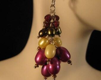 Pearl Cluster Earrings, pearl earrings, silver earrings, dangle earrings, drop earrings,cultured pearl earrings,cluster earrings