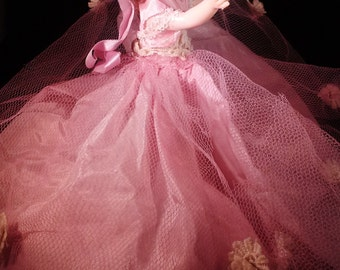 Ginny-like Doll in Pink Gown, Red Hair, Sleeper Eyes