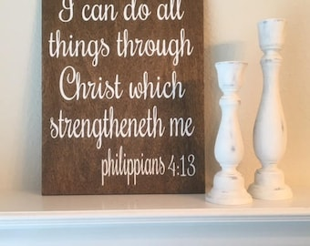 "I Can Do All Things Through Christ Which Strengtheneth Me Sign-9""x 12"" Rustic Philippians 4:13 Wood Sign-Inspirational Sign"