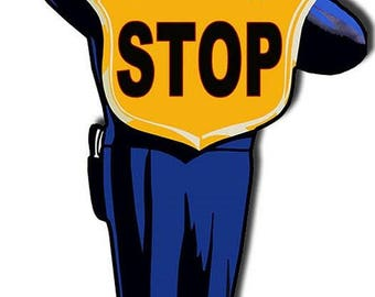 """Vintage Style Sign Steel Crossing Guard Stop 36"""" Tall"""