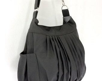 Women bag Handbags Canvas Bag Diaper bags Shoulder bag Hobo bag Boho bag Tote Messenger bag Purse Pleated bag Everyday bag Dark Gray  Rita