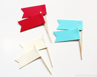 24 Aqua, Red and Cream Flag Cupcake Toppers, Wedding, Baby Shower, Birthday, Party Decorations