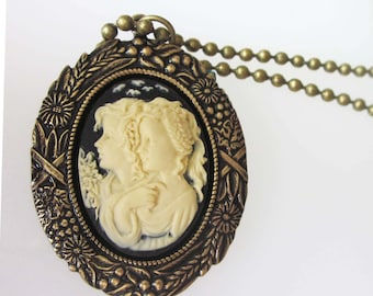 Victorian Cameo Necklace, Two Sisters, Black and Cream Cameo, Antiqued Gold, Sister Necklace, Friend Jewelry