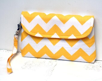Yellow clutch, chevron clutch purse, zippered clutch