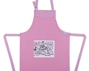 """""""The little birthday coloring"""" apron Kit size UNIQUE & 6 colors"""