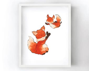 Fox Art Print - Playful Illustration with Baby Fox