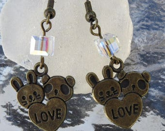Earrings bronzes Bunny, Teddy bear and Crystal by JosieCoccinelle