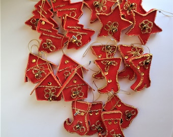 Vintage Red Flocked Ornaments Cardboard Stars Boots Houses Trees Lot of 20