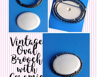 Vintage Silvertone Oval Brooches