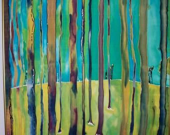 Art, Painting, Fine Art ,Fiber Art, Silk, Forest Through the Trees ,29x29inches, Framed, Wall Art