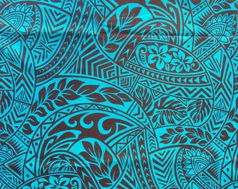 Fabric Polynesian Tapa, Tiffany and oxblood Brown patterned fabric