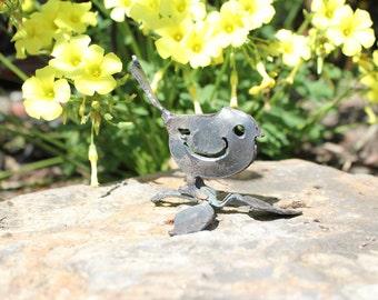 A tiny bird on branch metal art sculpture for the garden, bird garden art, 3D sculpture, made in the USA