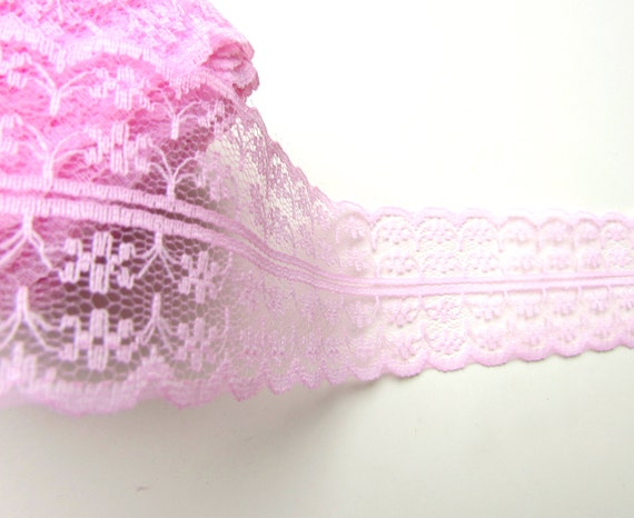 """2.5 yds PINK burlap lace trim 1 3/4"""" 45 mm, Shabby Chic double sided pink lace.  UK Seller"""