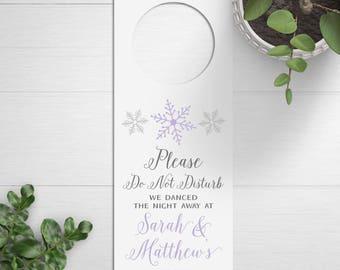 Wedding Door Hangers, Winter Wedding Favors, Do Not Disturb Signs, Snowflakes, Destination Wedding, Wedding Welcome Bags, Welcome Box Idea