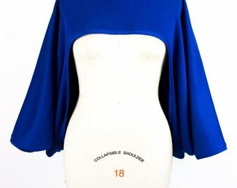 Oversize Royal Blue Sweatshirt Shrug - One Size