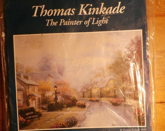 Thomas Kinkade Lamplight Brooke 50837 Counted Cross Stitch, with printed background,  Kit NIP 16 x 20