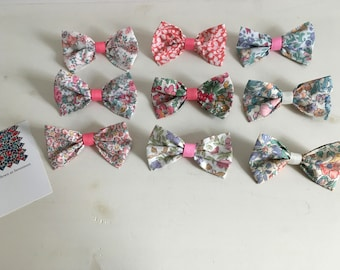 Liberty Print Fabric Floral Hair Clip Bow - Pink / Cream / Coral