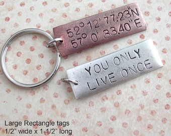 "GPS Coordinates Keychain. Large Rectangle Tag 1-1/2"" Pendant. Custom Lat/Long Hand Stamped antiqued charm. copper,silver,gold. souvenir gift"