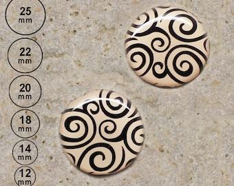 2 cabochons spiral print beige 25 mm 22 mm-20 mm 18 mm 14 mm 12 mm