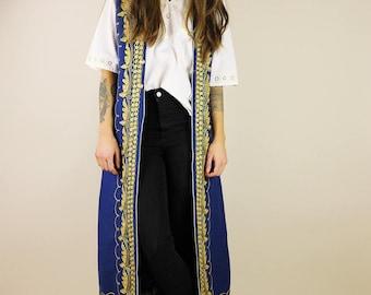 60's Bohemian Embroidered Long Waistcoat Jacket
