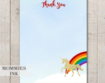 Unicorn Thank You Note, Magical Unicorn Thank You Card, Gold Unicorn Thank You, Rainbow Unicorn, Magical Unicorn, Unicorn Party, Flat Note