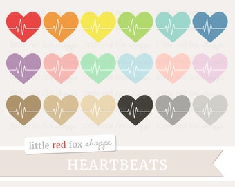 Heartbeat Clipart, Fitness Clip Art Heart Health Exercise Athletic Work Out Yoga Sports Cute Digital Graphic Design Small Commercial Use