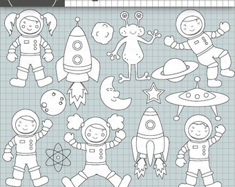 Space Digital Stamps, Astronaut Digi Stamp, Commercial Use, Space Rockets, Planets, Alien, Moon and Stars, Kid's Card Making Em