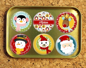 Magnet Gift Set with Cute Tin, Refrigerator Magnets, Magnets for Badge Reels, Personalized Gift Set, Christmas Stocking Stuffer, Santa